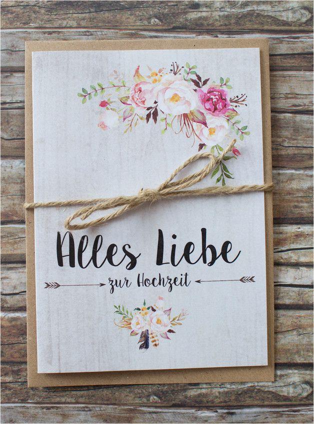 Glckwunschkarte zur Hochzeit Hochzeitskarte fr das Brautpaar  wedding card greeting card