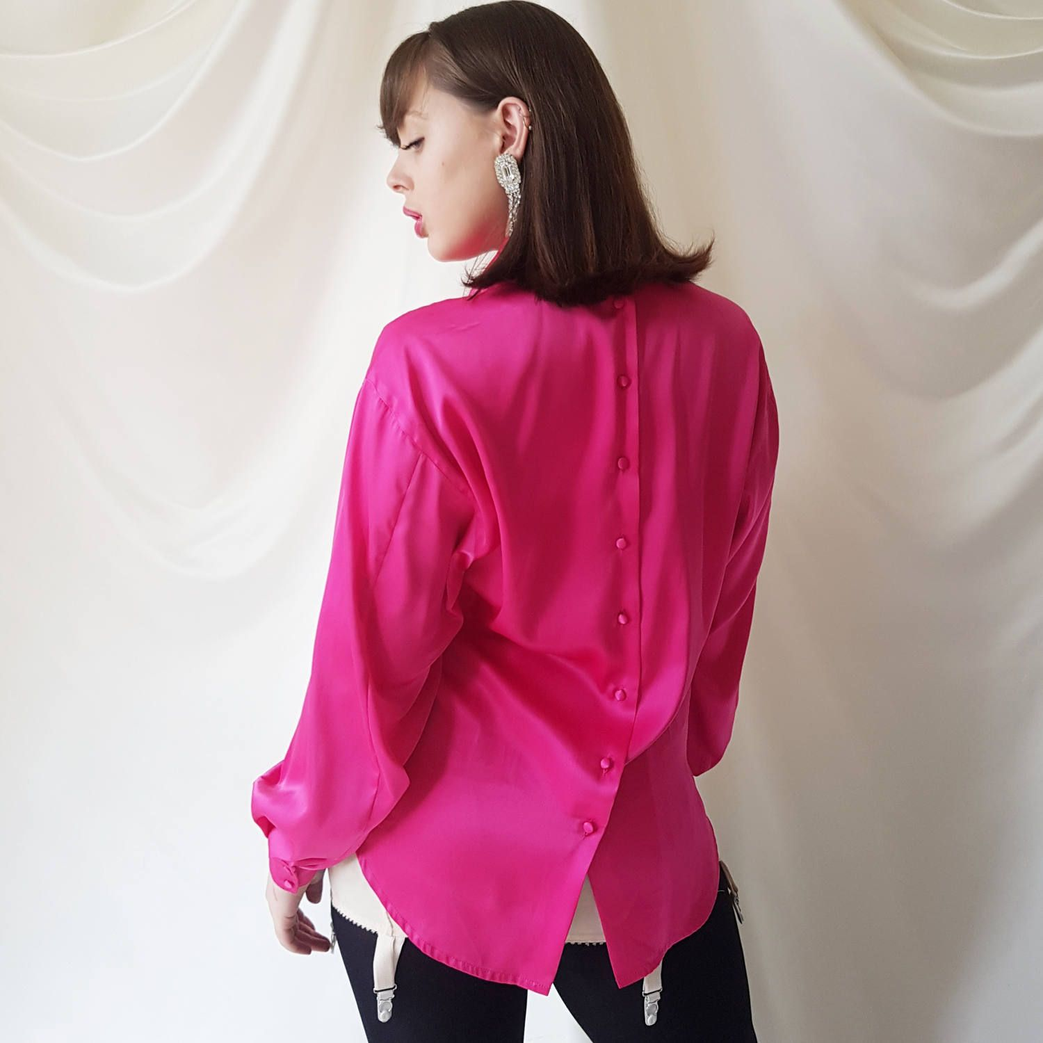 Vintage 1980s Jaeger Oversized Roll Neck Satin by lauramaycurates