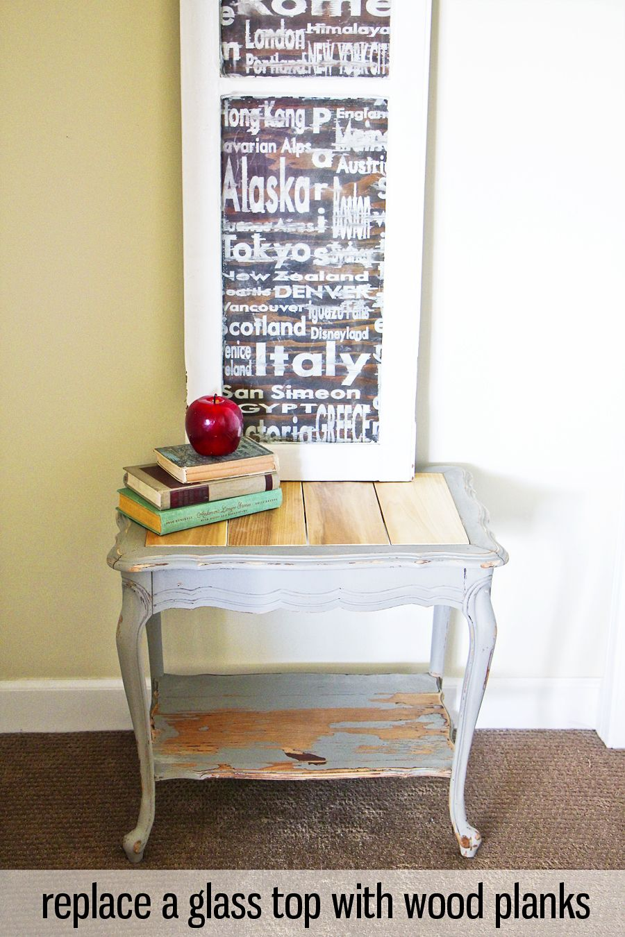 Replace A Glass Table Top With Wood Planks Glass Top Table Glass Table Coffee Table Makeover
