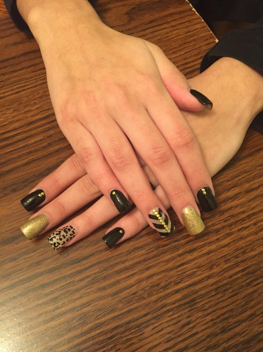 Gold and black/ animal print