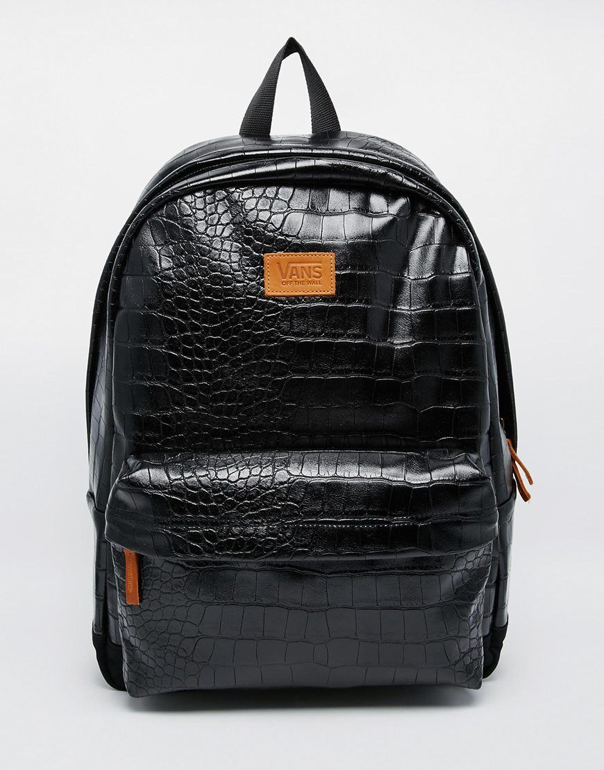 92add2d678d5 Vans Cameo Backpack in Shiny Black Faux Croc