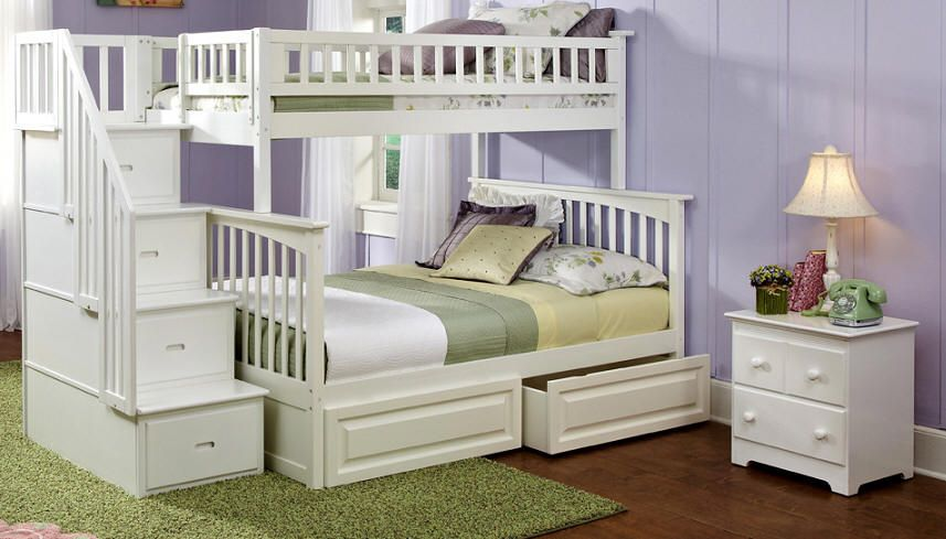 Ogden Twin Over Full Stairway Bunk Bed White White Bunk