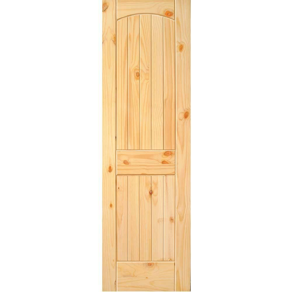 Builder's Choice 24 in. x 80 in. 2-Panel Solid Core Unfinished Arch Top V-Grooved Knotty Pine Single Prehung Interior Door