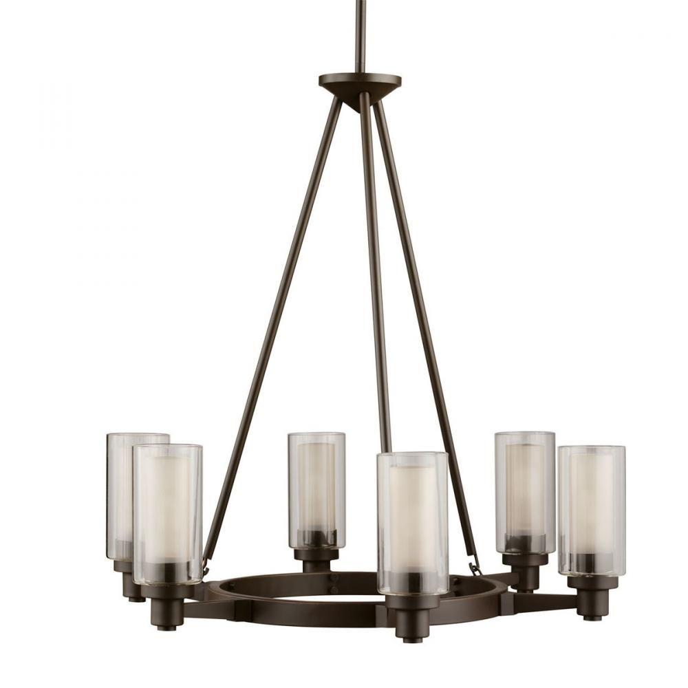 Six Light Olde Bronze Up Chandelier : 8UVZF | Wolfe Lighting & Accents