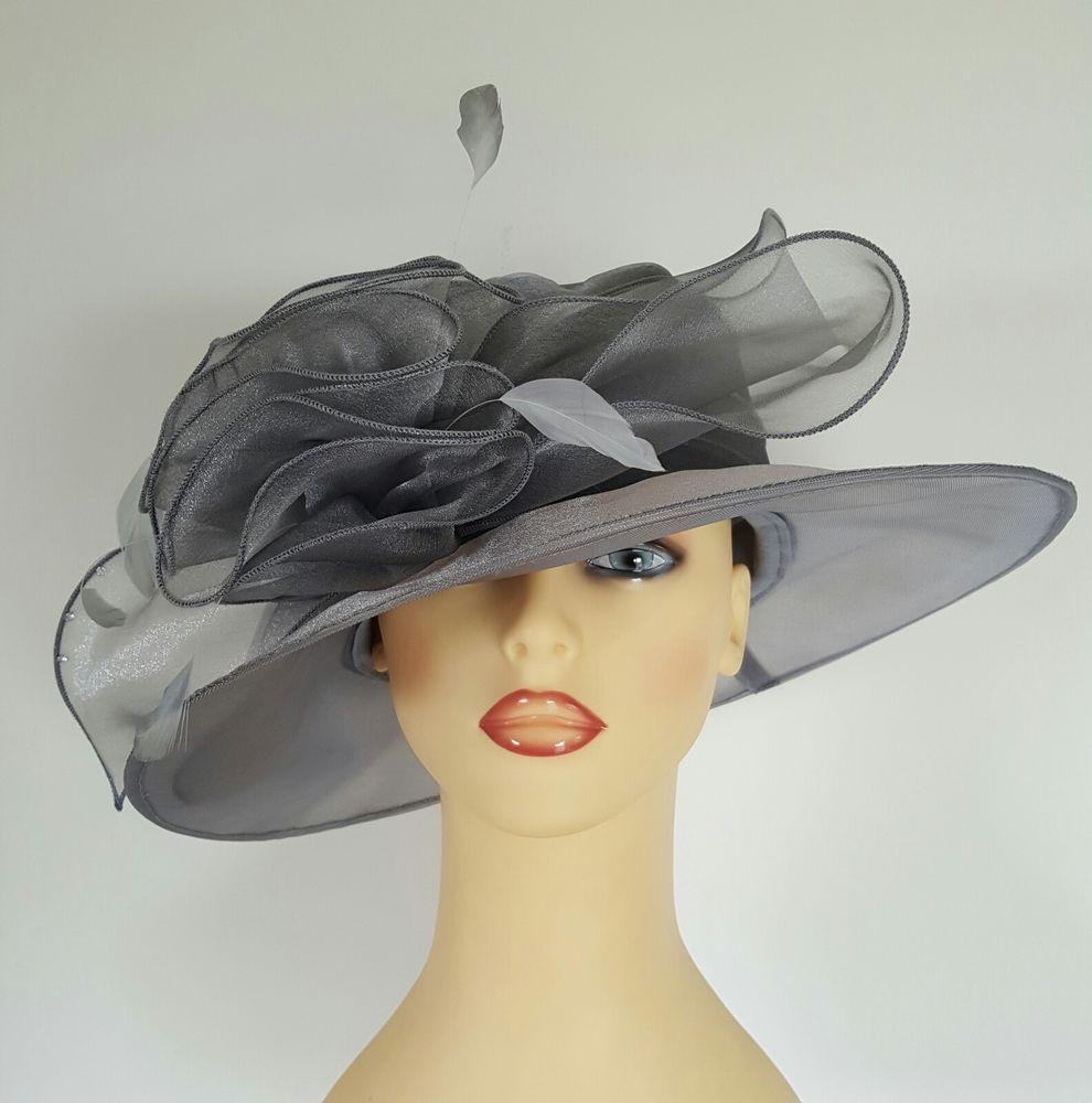 Ladies Wedding Hat Races Mother Bride Ascot Hat Silver Grey Chiffon  Diamantes 3dfb4867cf9