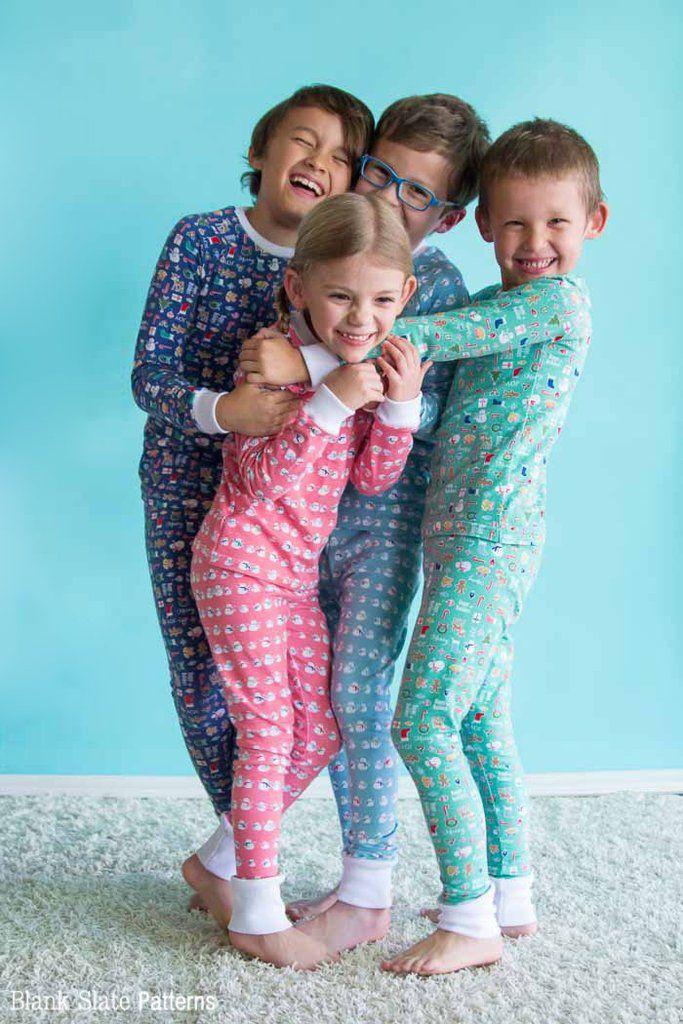 Dreamtime Jammies - Kids Pajama Pattern from Blank Slate Patterns - Christmas Pajamas for siblings