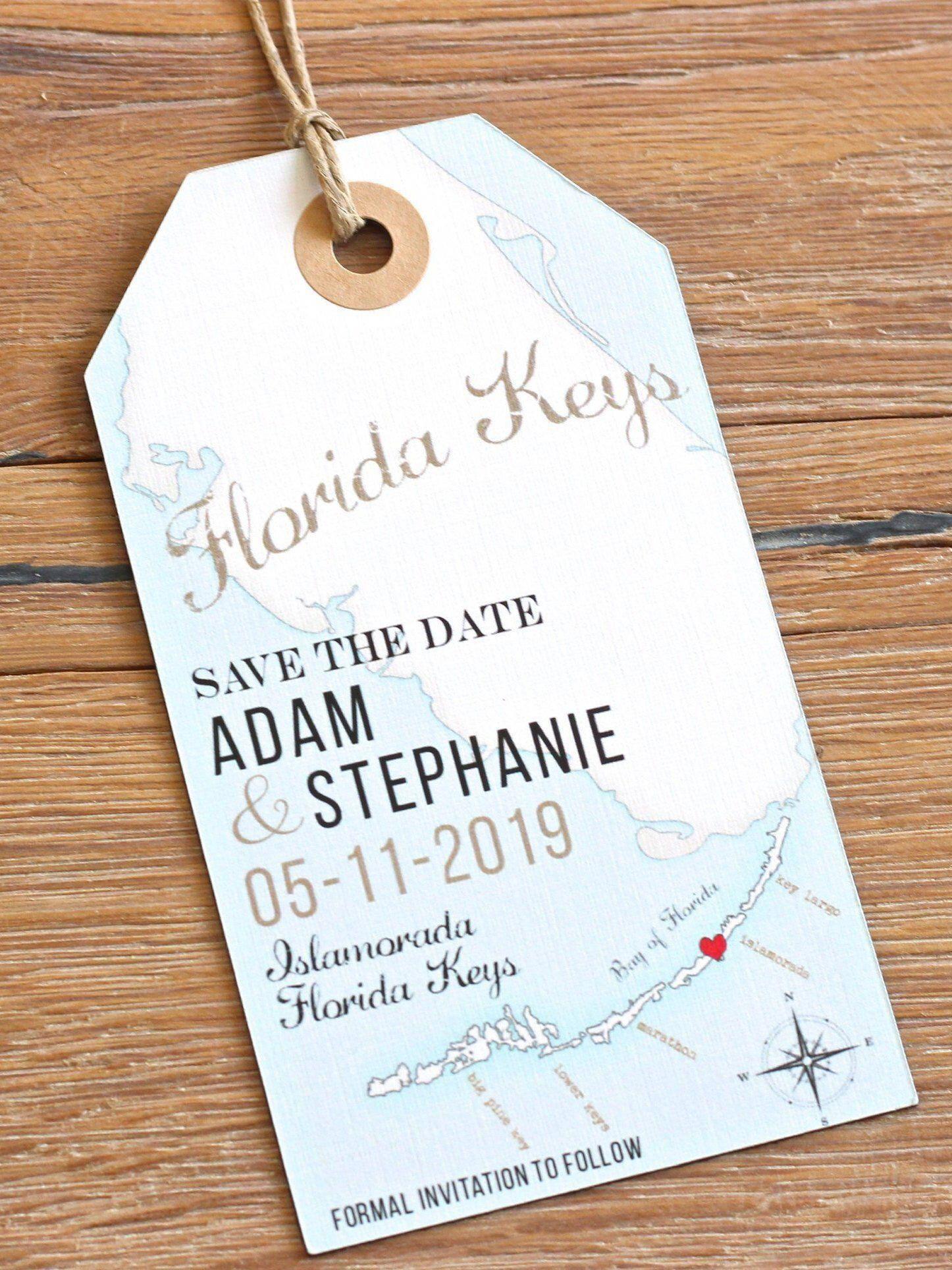 Florida Keys Save the Date invitation DESIGN FEE. Florida