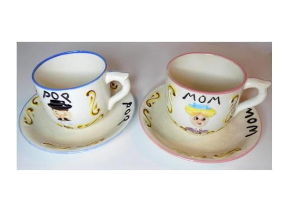 Vintage Mom u0026 Pop Cup and Saucer Set Ceramic Two Mugs Two Plates - Coffee / Tea / Soup Blue and Pink Soup and Sandwich  sc 1 st  Pinterest & Vintage Mom u0026 Pop Cup and Saucer Set Ceramic Two Mugs Two Plates ...
