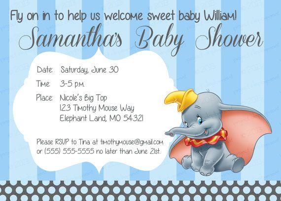 Baby Shower  Blue Dumbo Baby Shower Invitation On Etsy, $8.99