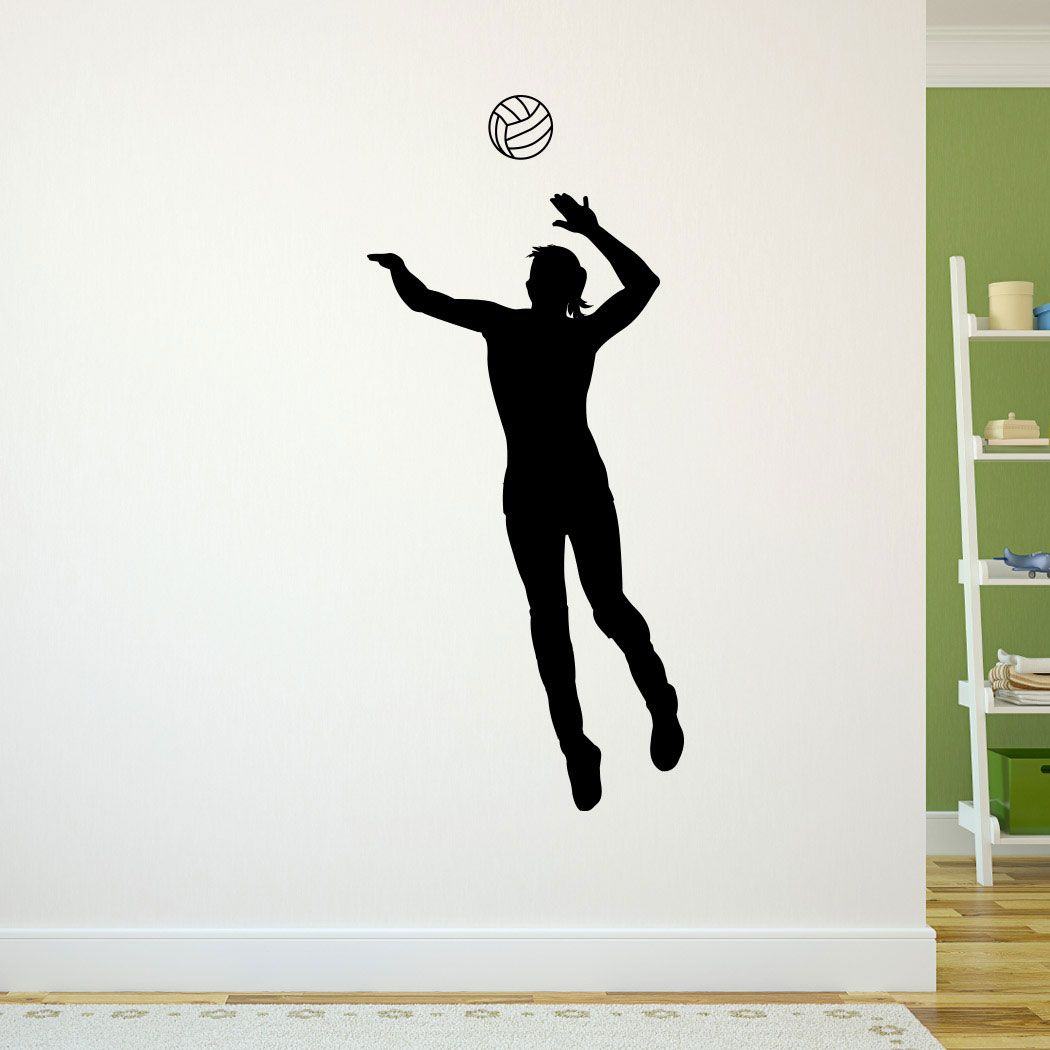 Volleyball Bedroom Wall Sticker Player Spiking Black In 2019 Volleyball Bedroom Vinyl Wall Decals Wall Stickers