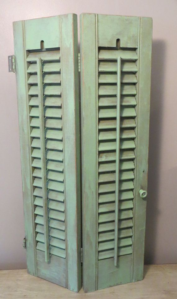 Vintage Wooden Louvered Sea Foam Mint Shutters , Decorative Interior Wood  Window Shutters
