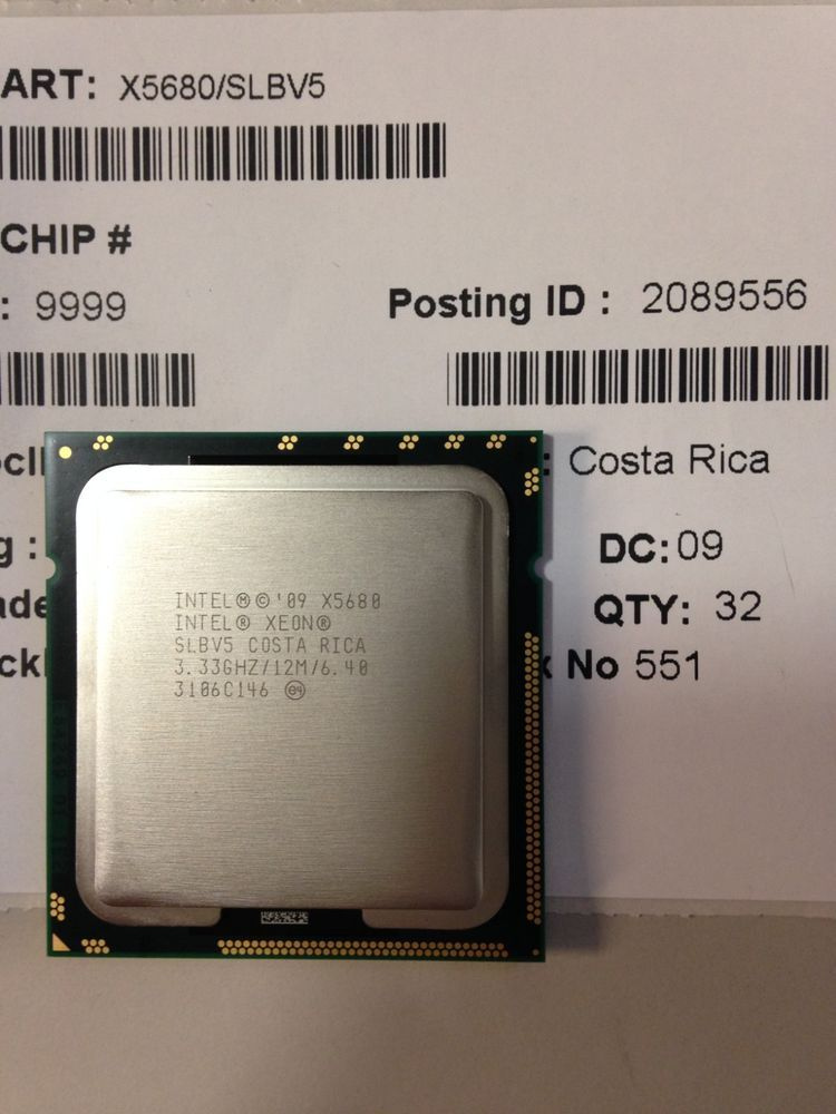 INTEL XEON X5680 SLBV5 3.33GHZ 12MB 6.4 GT//S LGA 1366 SOCKET B SIX-CORE CPU