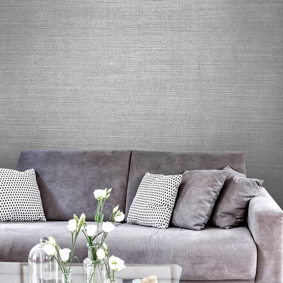 135032 Gray Silver Textured Faux Grasscloth Plain Wallpaper Wallcoveringsmart In 2020 Grasscloth Plain Wallpaper Wall Coverings