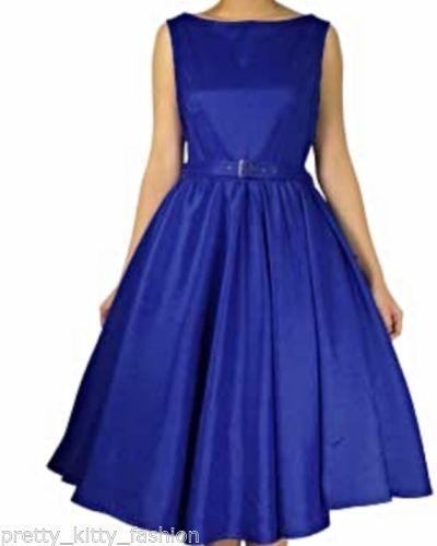 d3300e6525ef ROCKABILLY 50s ROYAL BLUE SATIN VINTAGE SWING PROM EVENING 1950s DRESS 8-22  FREE   eBay