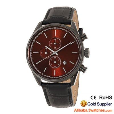 Fashion Chronograph Men Watch Genuine Leather Red/Gun 3W-CW05, click picture to designs your own brand watch.