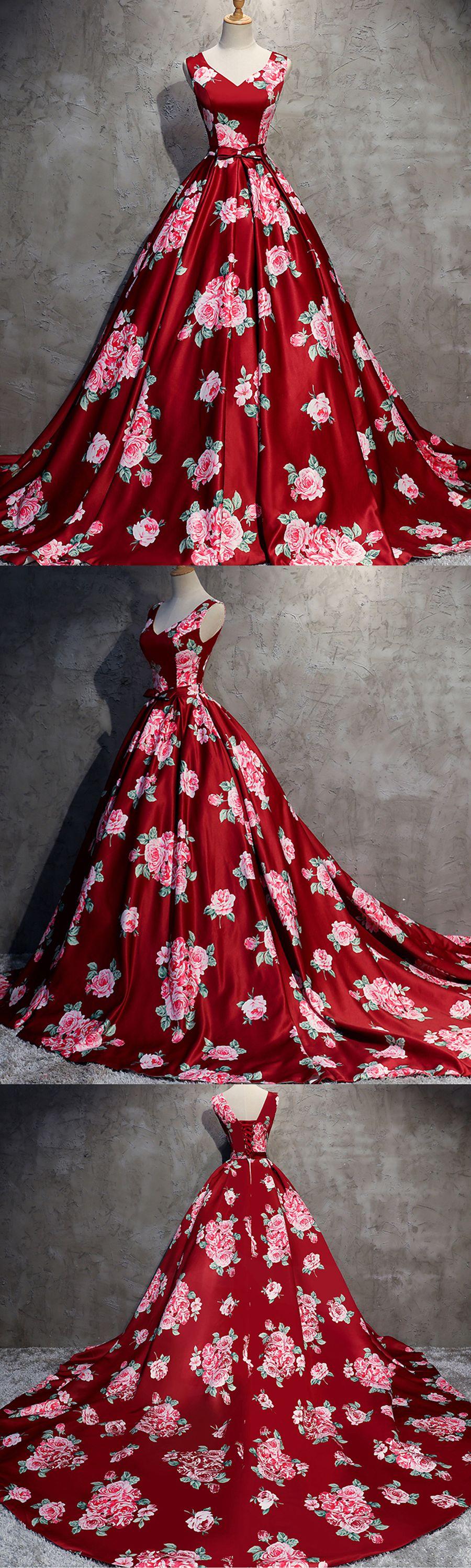 Red floral print satin v neck long train evening dress red floral