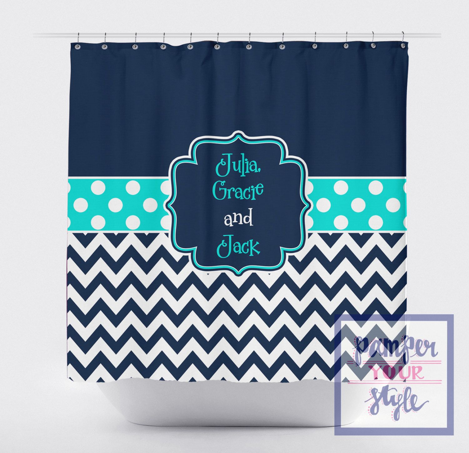 Navy And Aqua Shower Curtain Personalized Shower Curtain Etsy