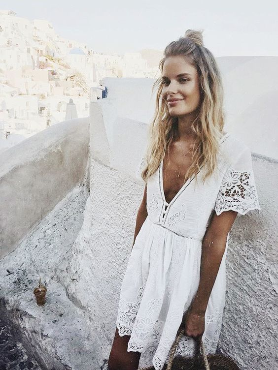 Romantic White Flowy Dress Travel Outfits Travel Style
