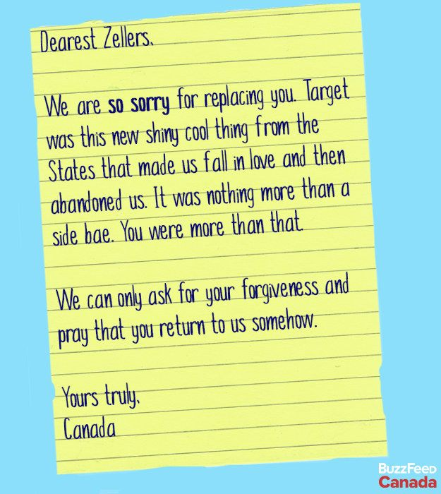 So Zellers, Canada wants you to know that itu0027s real sorry Please - apology letter