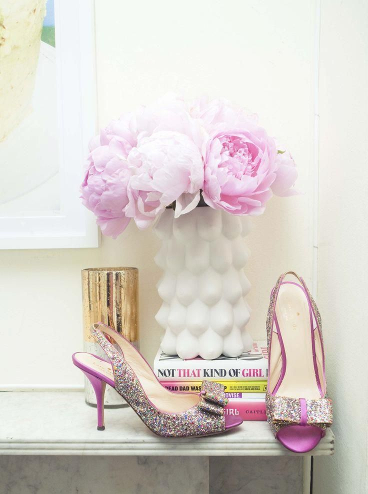 Sparkly Kate Spade s  Sparkly Kate Spade shoes & peonies.