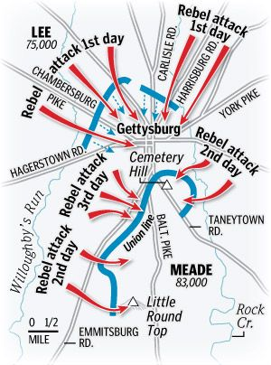 Battle Of Gettysburg Map Us History Ideas Gettysburg Map - Gettysburg-on-us-map