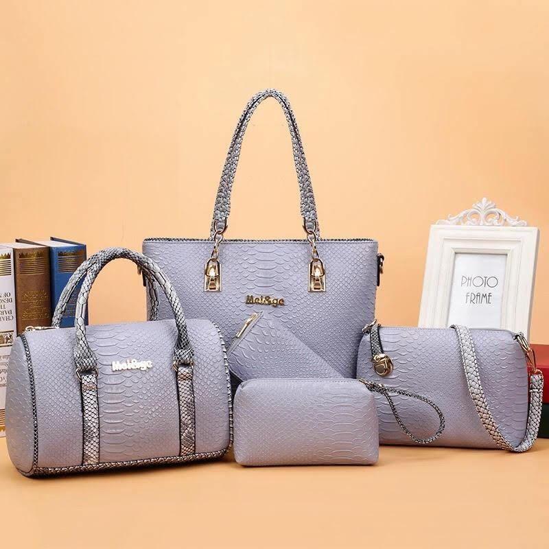 1d430b4d4f 6 pcs Set Grey with Croco Strip Handbag