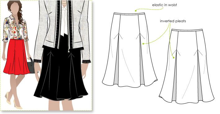 Knit skirt featuring 4 inverted pleats and elastic waistband ...