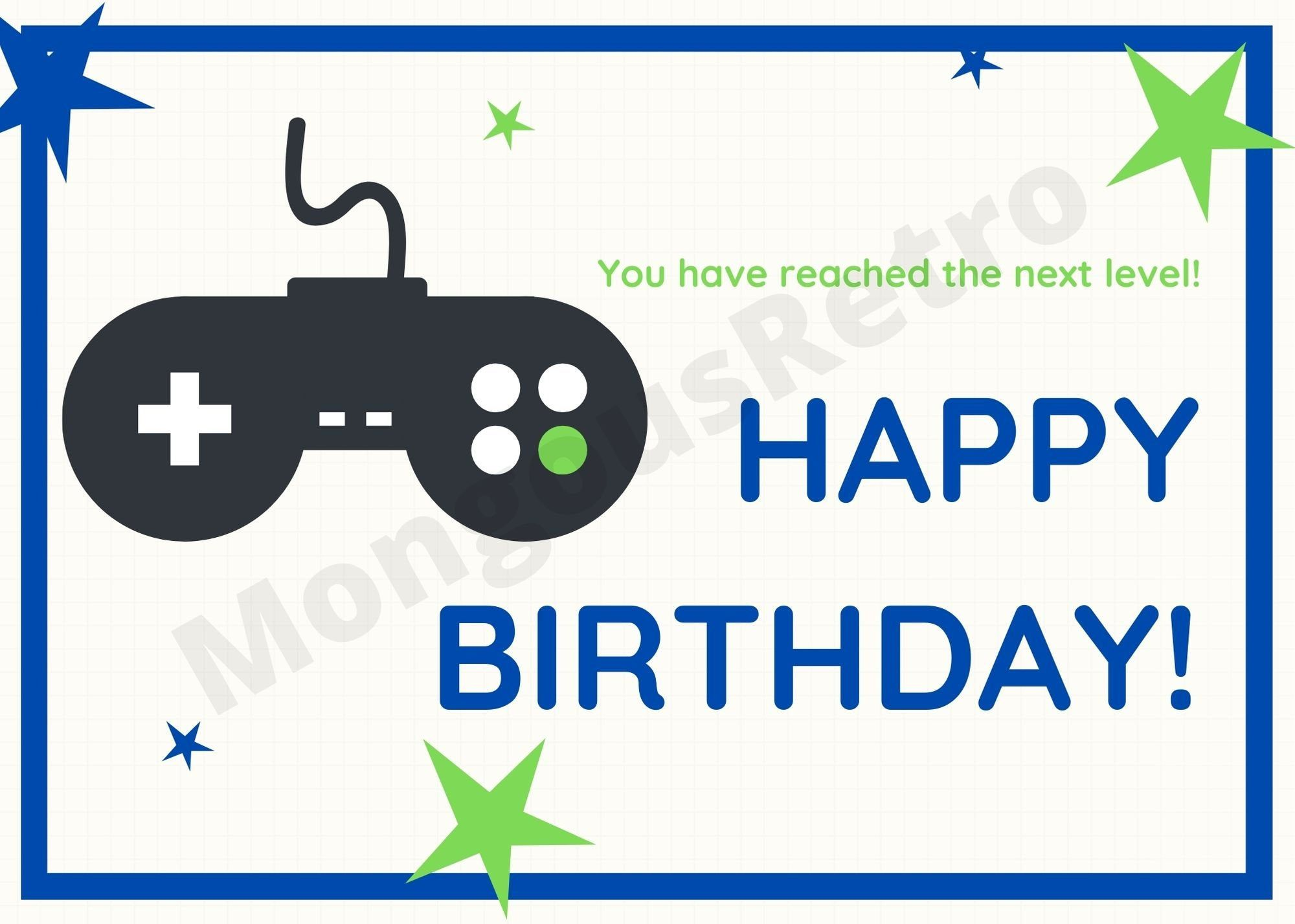 Gamer Birthday Card Digital Download You Have Reached The Next Level Happy Birthday Blue With Green Accent And Controller In 2021 Happy Birthday Gamer Birthday Cards Happy Birthday Lettering