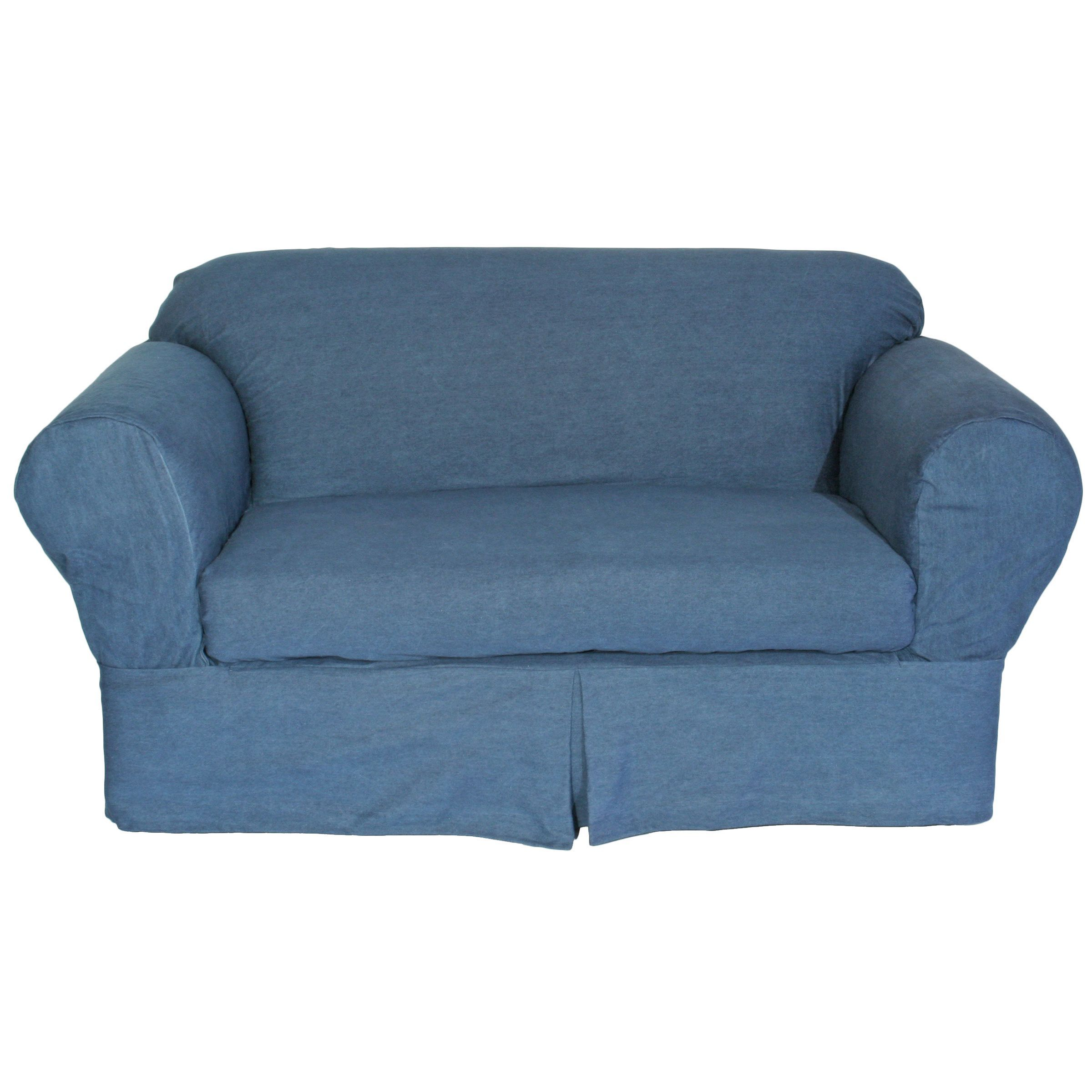 Washed Heavy Denim Cotton 2-Piece Loveseat Slipcover (Washed ...