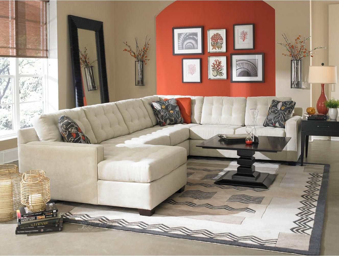 modern chairs for living room%0A Love this modern living room and the bold accent wall  pops of orange  sprinkled around