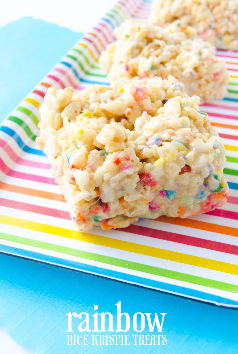 Rainbow Rice Krispie Treats | Rice krispies, Rice krispie ...