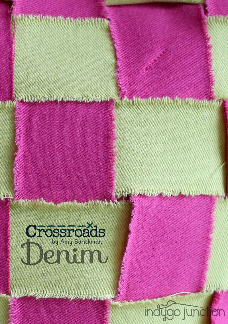 Create a raw edge weave using Amy Barickman's Crossroads Denim fabric and Dimensional Denim - A fabric manipulation technique and project book. Create your own denim couture projects! #sewingpatterns #crossroadsdenim #fabrictechniques #homedecor