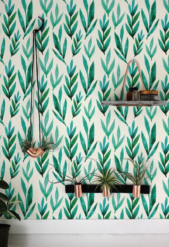 Aquarelle vert feuilles amovible papier peint, papier peint