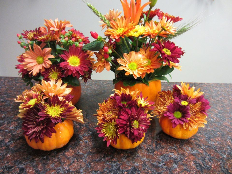 Mini Pumpkin Flower Arrangements Pumpkin Flower Pumpkin