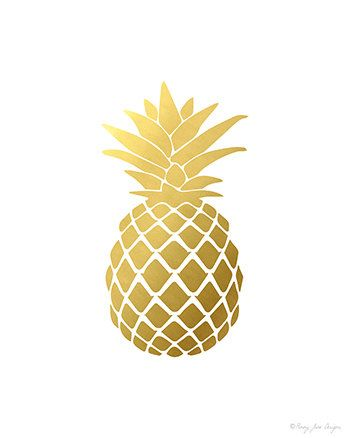Pineapple Print Gold By PennyJaneDesign