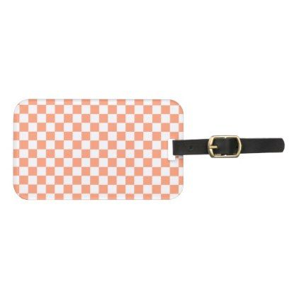 Salmon Sunset Checkerboard Luggage Tag