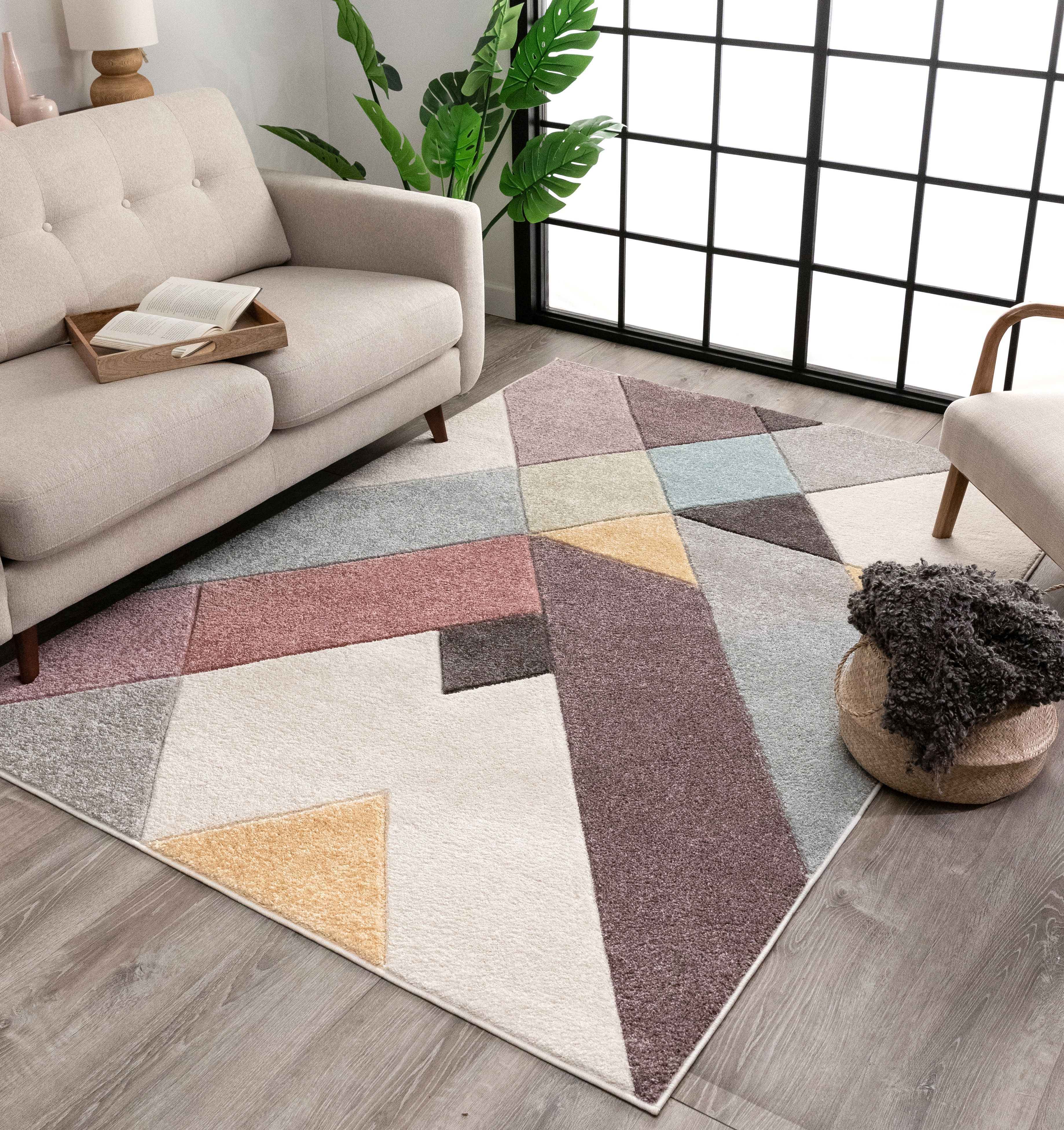 Well Woven Canna Soft Pastel Multi Color Triangle Boxes Squares Geometric Area Rug Well Woven Geometric Area Rug Area Rugs Center carpet for living room
