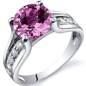 Solitaire Style 2.75 carats Pink Sapphire Ring in Sterling Silver Rhodium Finish Size 9, Available in Sizes 5 thru 9