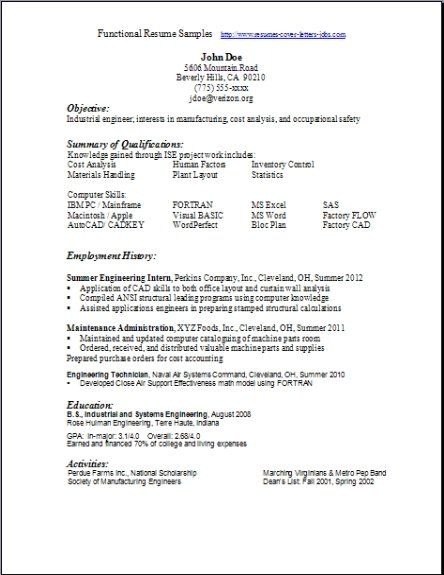 Functional Resume Samples  Resume    Functional