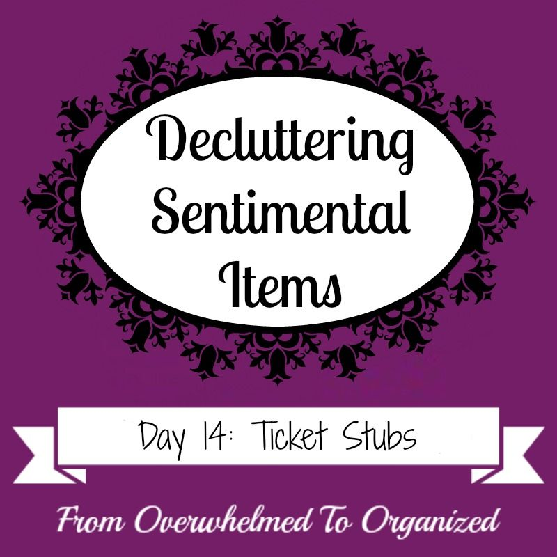 Overwhelmed with sentimental clutter? This series gives tips to help you declutter sentimental items! Today's post gives strategies to help you purge old ticket stubs from concerts, movies, sporting events, etc.