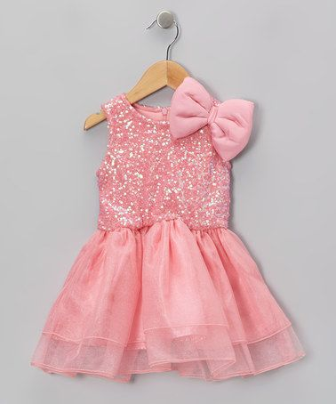 3a8902a70ff3 Another great find on  zulily! Coral Sequin Bow Dress - Toddler ...