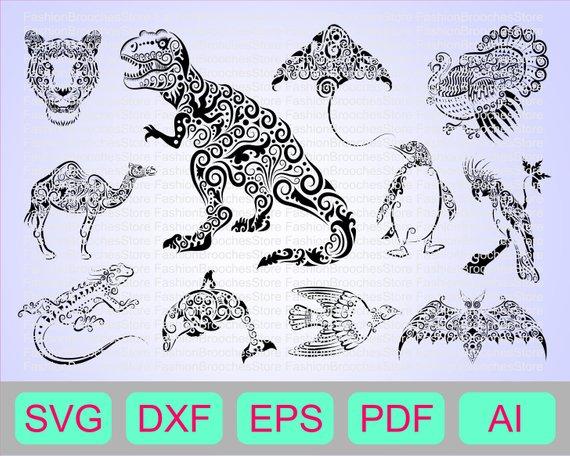 Animal Mandala Zentangle Svg Mandala Svg Dino Svg Dinosaur Svg T Rex Svg Trex Svg Trex Silho Mandala Svg Tiger Silhouette Mandala