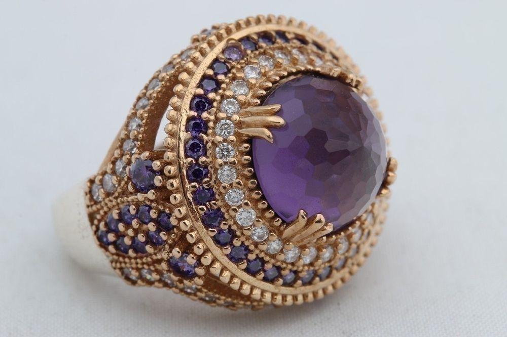 Turkish+Jewelry+Hurrem+Round+Amethyst+Topaz+925+Sterling+Silver+Ring+Size+9.5+#Handmade+#Ottoman
