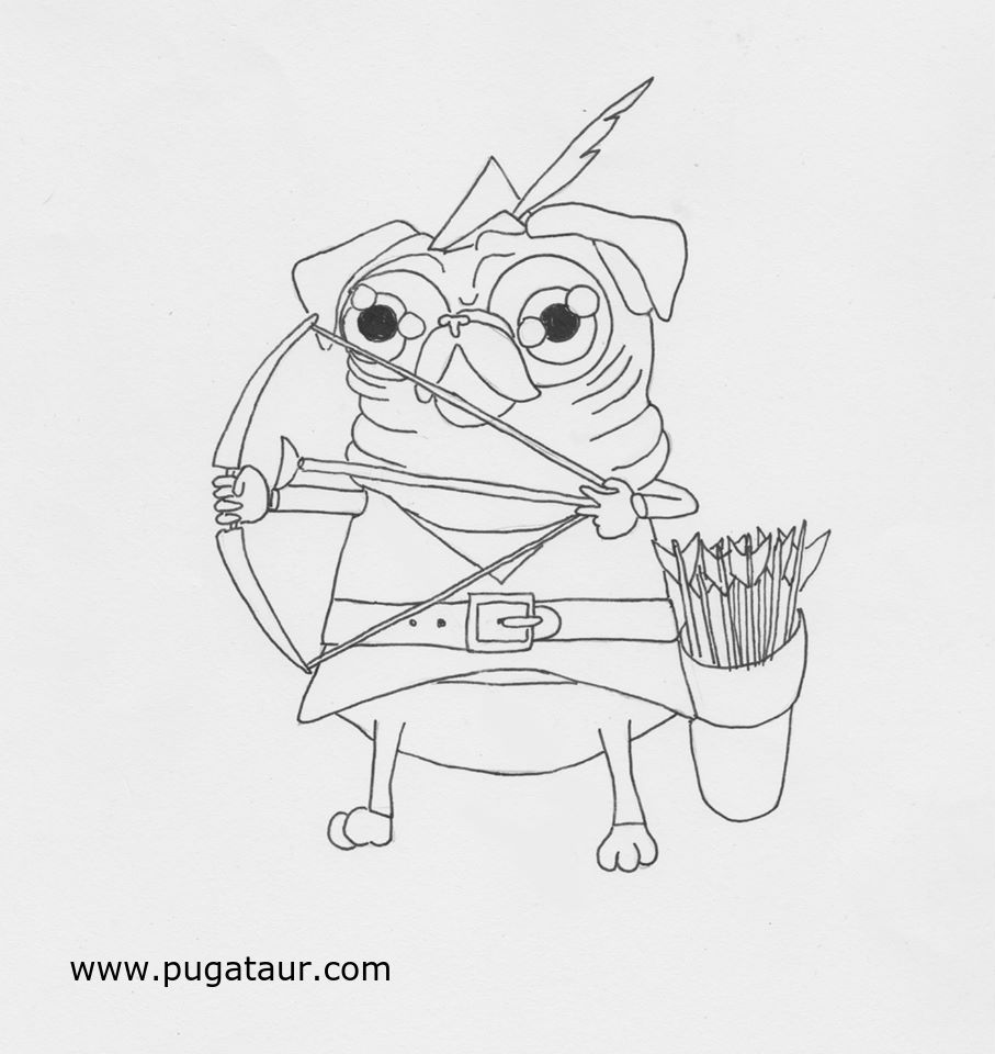Pugataur Robintaur coloring page | Pugataur Pug Coloring Pages ...