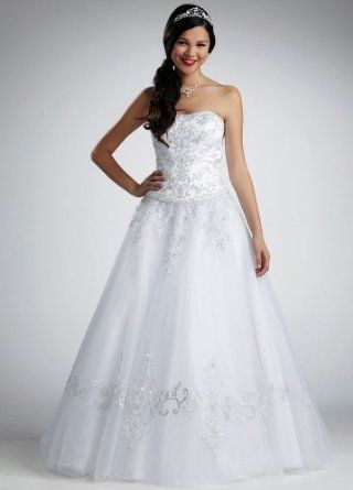 David\'s Bridal Wedding Dress: Petite Strapless Tulle Ball Gown with ...