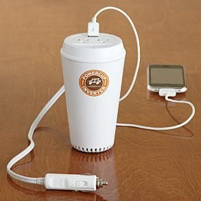 Car gadget charger...fits in coffee cup holder! Changes 3 gadgets at once...great gift, too $39.95