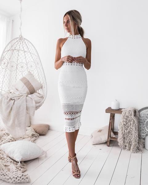 Rivers midi dress – white