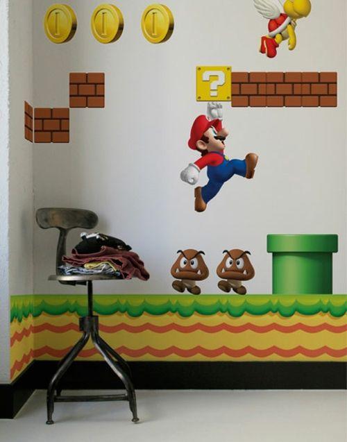 Super Mario Wand Dekoration im Kinderzimmer von Nintendo | mario ...