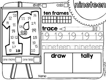 The Art Of Numbers {Number Practice Pages 11-20
