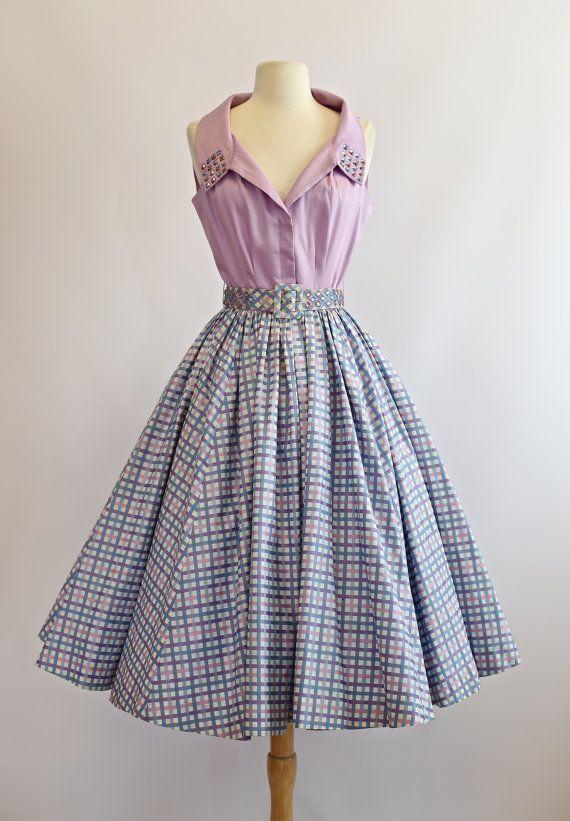 a9a805a8a25e Vintage 1950s Cotton Dress 50s Sundress With coordinating shirt   blouse